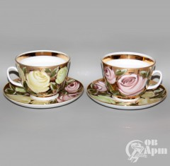 """Две большие чайные пары """"Розы"""""""